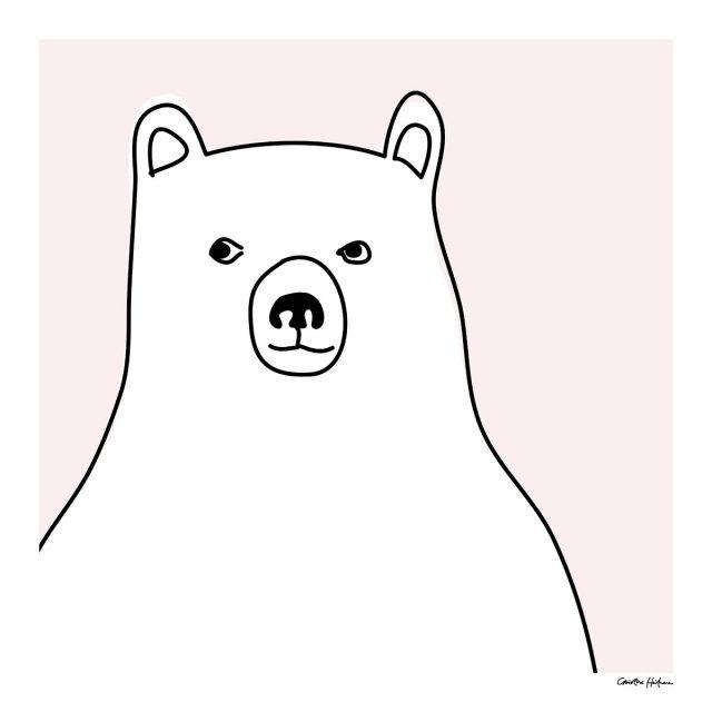 Barntavla rosa björn