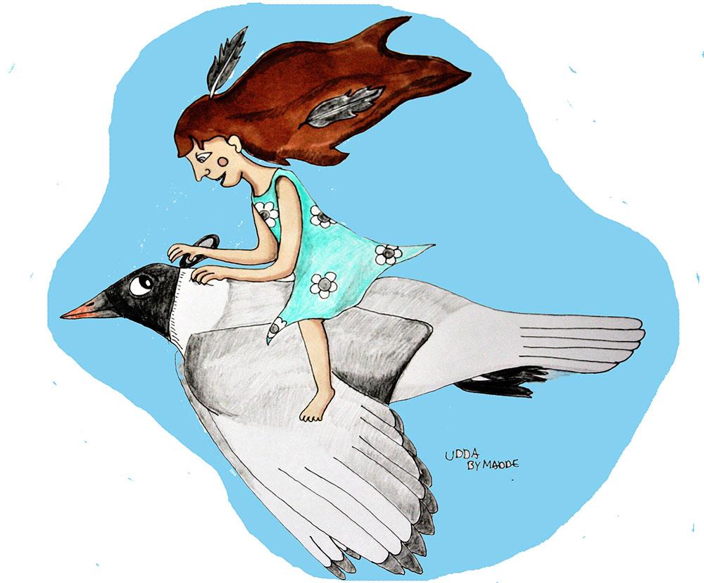 Barntavla Flicka på fågel