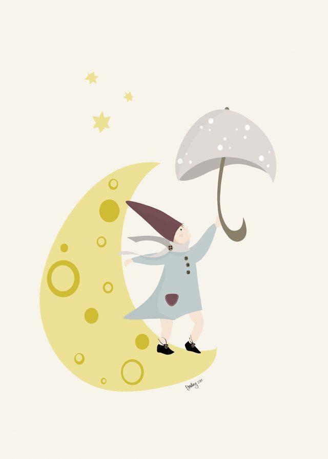 Sleepy barntavla måne