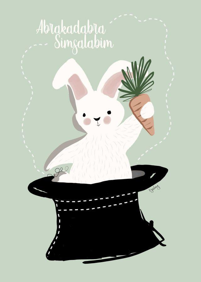 Kanin i hatt tavla